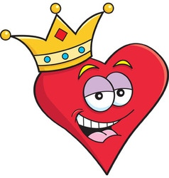 Cartoon heart wearing a crown vector