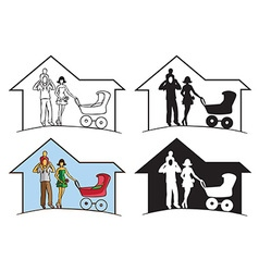 Family silhouette in house vector