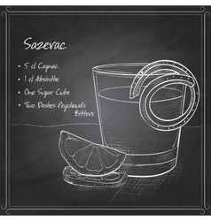 Classic sazerac cocktail on black board vector