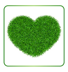 Heart green grass background 1 vector