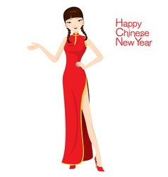 Beautiful woman with cheongsam vector