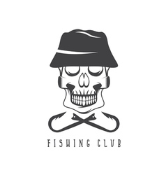 Fishing club emblem with skull in panama hat vector