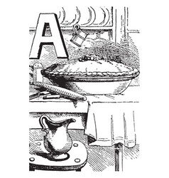 alphabet a apple pie vintage vector image vector image