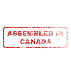 Assembled in canada rubber stamp vector
