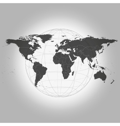 Black World Map vector image vector image