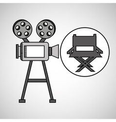 Camera film vintage with movie director chair vector