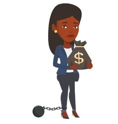 Chained taxpayer holding bag with dollar sign vector