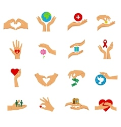 Charity Hands Flat Icon Isolated Set vector image