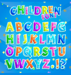 Children font with blue background vector