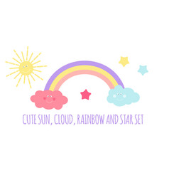 Children s background with sun cloud and stars vector
