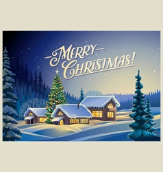Christmas winter landscape design vector image