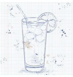 Cocktail long island iced tea on a notebook page vector