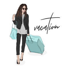 Fashion of woman with luggage sketch vector