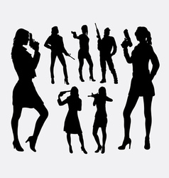 Girl with gun silhouettes vector image