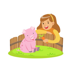 Happy little girl feeding pink pig with carrot in vector