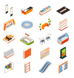 hypermarket furniture objects set vector image vector image