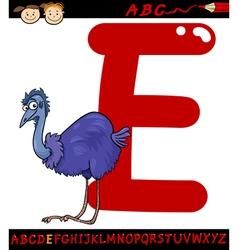 Letter e for emu cartoon vector