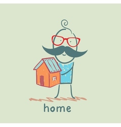 man holding a house vector image