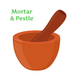 mortar pestle pottery cartoon flat style vector image