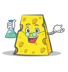 Professor cheese character cartoon style vector