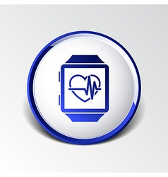 Pulsometer heart rate monitor watch icon vector