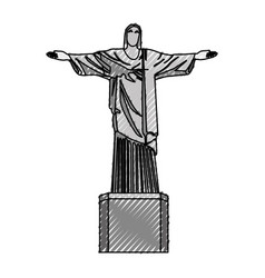 Scribble redeemer christ statue vector
