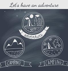 Set of doodle camping badges on blackboard vector