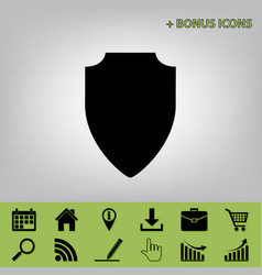 Shield sign black icon at vector