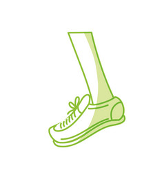 Silhouette leg with sport sneaker to practice vector