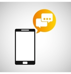 smartphone and bubble speak application vector image