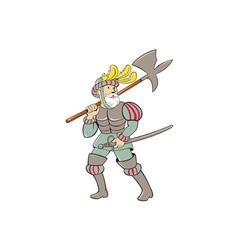 Spanish conquistador ax sword cartoon vector