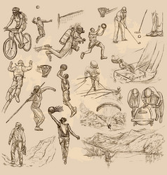 sport mix - an hand drawn collection vector image