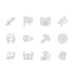 Viking attributes flat line icons set vector