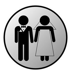 Wedding couple button vector