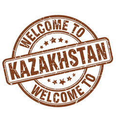Welcome to kazakhstan brown round vintage stamp vector