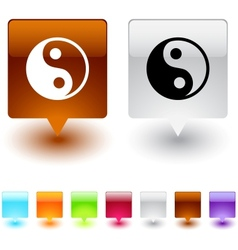 Yinyang square button vector