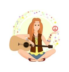 hippie vector image