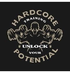 Hardcore training emblem vector