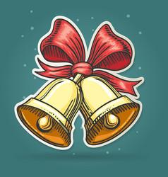 Paper Cut Jingle Bells Emblem vector image