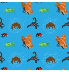 Seamless pattern with cartoon insects vector