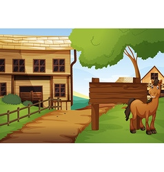 Western old town with horse by the road vector image