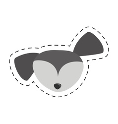 Small dog face gray pet line dotted vector