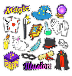 Magician elements set with magic wand mask vector