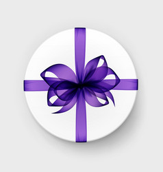 round gift box with bow top view isolated vector image