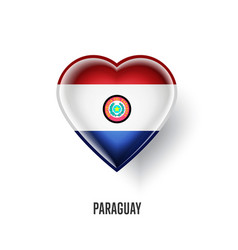 patriotic heart symbol with paraguay flag vector image
