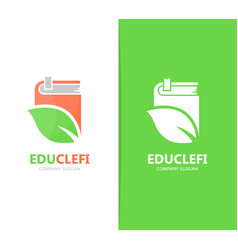 Book and leaf logo combination library vector