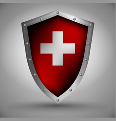 Shield with the swiss flag vector