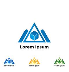 set logo triangle vector image