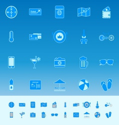 Journey color icons on blue background vector