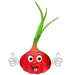 Red onion cartoon thumbs up vector